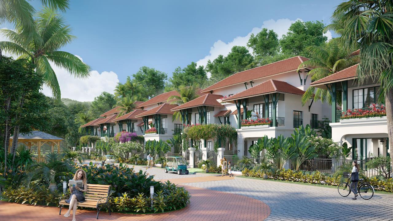 Một góc khuôn viên của dự án Sun Tropical Village