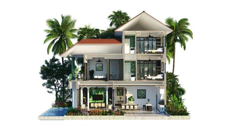 Mặt cắt biệt thự Sun Tropical Village Đơn Lập